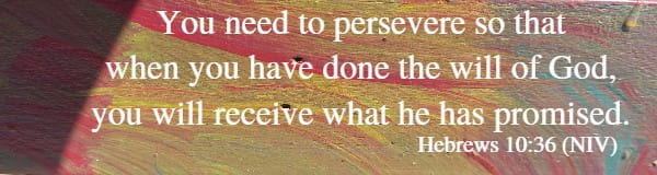 You need to persevere so that when you have done the will of God, you will receive what he has promised. Hebrews 10:36 (NIV)