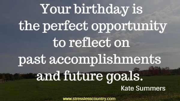 Your birthday is the perfect opportunity to reflect on past accomplishments and future goals.