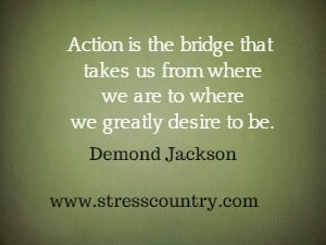 Action is the bridge that takes us from where we are to where  we greatly desire to be. Demond Jackson